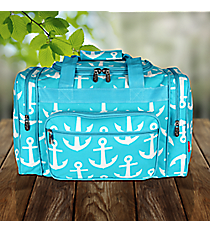 "17"" Aqua with White Anchors Duffle Bag #DDT417-AQUA"