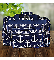"""17"""" Navy with White Anchors Duffle Bag #DDT417-NAVY"""