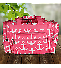 """17"""" Pink with White Anchors Duffle Bag #DDT417-PINK"""