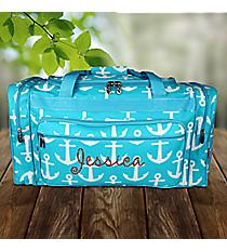 "20"" Aqua with White Anchors Duffle Bag #DDT420-AQUA"