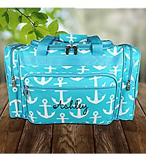 "23"" Aqua with White Anchors Duffle Bag #DDT423-AQUA"