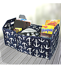 Navy with White Anchors Utility Storage Tote with Insulated Bag #DDT516-NAVY