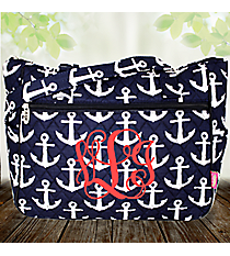 Navy with White Anchors Quilted Shoulder Tote #DDT594-NAVY