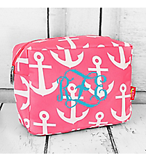 Pink with White Anchors Cosmetic Case #DDT613-PINK