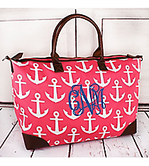 Pink with White Anchors Large Tote Bag #DDT642-PINK