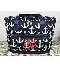 Navy with White Anchors Cooler Tote with Lid #DDT89-NAVY
