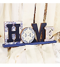 5.75 x 13.5 Distressed Multi-Blue 'Home' Tabletop Decor #DFEM0008