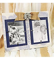 11.75 x 15.75 Blue and Cream Paisley Two Photo Frame Wall Hanging #DSEK0045