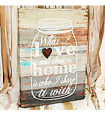 26.5 x 19.25 'What I Love Most About My Home' Mason Jar Canvas Wall Art #DFEW0052
