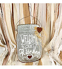 15 x 10 'Welcome To My Kitchen' Mason Jar Shaped Metal Sign #DFEW0056