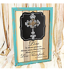 24.75 x 17.5 'Love Never Fails' Cross Wall Decor #DFEY0063