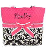 Quilted Damask Diaper Bag with Hot Pink Trim #DMQ2121-H/PINK