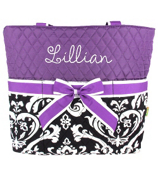 Quilted Damask Diaper Bag with Purple Trim #DMQ2121-PURPLE