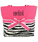Quilted Zebra Diaper Bag With Hot Pink Trim #ZBRB2121-HPINK