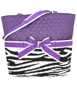 Quilted Zebra Diaper Bag with Purple Trim #ZBRB2121-PURPLE