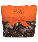 BNB Natural Camo Quilted Diaper Bag with Orange Trim #SNQ2121-ORANGE