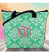Mint Victorian Damask Quilted Shoulder Bag with Navy Trim #DOL1515-MINT