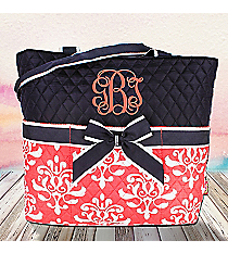 Coral Victorian Damask Quilted Diaper Bag with Navy Trim #DOL2121-CORAL