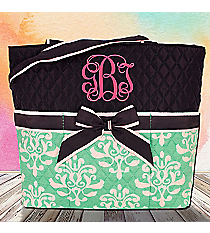 Mint Victorian Damask Quilted Diaper Bag with Navy Trim #DOL2121-MINT