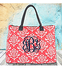 Coral Victorian Damask Quilted Large Shoulder Tote with Navy Trim #DOL3907-CORAL