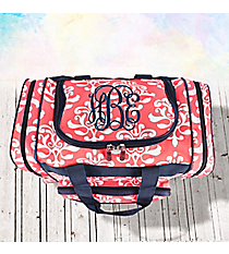 "17"" Coral Victorian Damask Duffle Bag with Navy Trim #DOL417-CORAL"