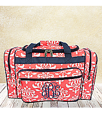 """20"""" Coral Victorian Damask Duffle Bag with Navy Trim #DOL420-CORAL"""