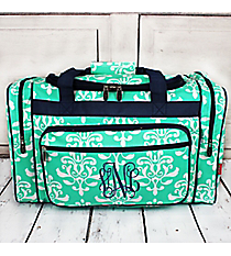 "Mint Victorian Damask Duffle Bag with Navy Trim 20"" #DOL420-MINT"