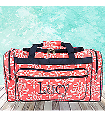 """23"""" Coral Victorian Damask Duffle Bag with Navy Trim #DOL423-CORAL"""