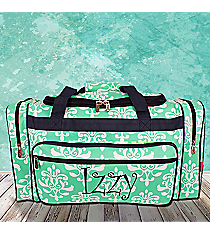 """23"""" Mint Victorian Damask Duffle Bag with Navy Trim #DOL423-MINT"""