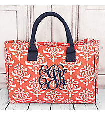 Coral Victorian Damask Wide Tote Bag with Navy Trim #DOL581-CORAL