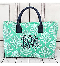 Mint Victorian Damask Wide Tote Bag with Navy Trim #DOL581-MINT