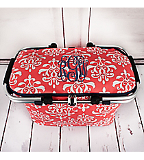 Coral Victorian Damask Collapsible Insulated Market Basket with Lid #DOL658-CORAL
