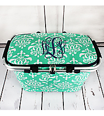 Mint Victorian Damask Collapsible Insulated Market Basket with Lid #DOL658-MINT