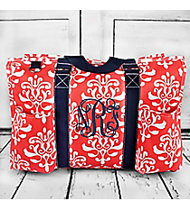 Coral Victorian Damask with Navy Trim Large Organizer Tote #DOL733-CORAL