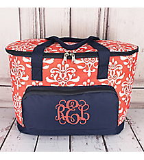 Coral Victorian Damask and Navy Cooler Tote with Lid #DOL89-CORAL