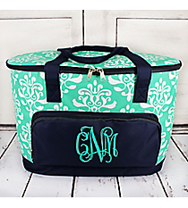 Mint Victorian Damask Cooler Tote with Lid #DOL89-MINT