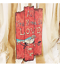 15.75 x 7.75 'All You Need is Love' Bird Print Wall Hanging #DSEF0028
