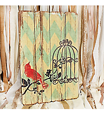26 x 17 Red Bird with Cage Wall Art #DSEF0039