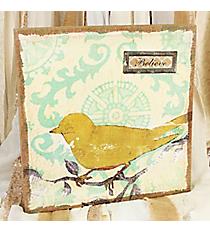 16 x 16 Bird on a Branch 'Believe' Burlap Wall Art #DSEF0045