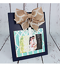 9.5 x 8 Burlap Bow Accented Wood Photo/Message Board #DSEK0022