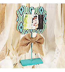 14 x 7.75 Aqua and Mint with Burlap Bow Photo/Card Holder #DSEK0031