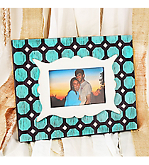 9.5 x 11.75 Distressed Blue, Brown, and Ivory 6x4 Photo Frame #DSEK0045