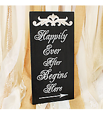 15.75 x 8 'Happily Ever After Begins Here' Tabletop Sign #DSER0021-A