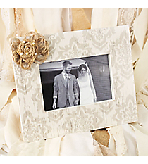 8 x 9.5 Vintage Damask 6x4 Photo Frame with Burlap Bow #DSER0031