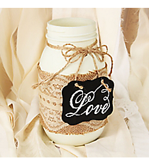 Lace and Burlap Accented 'Love' Decorative Glass Jar #DSER0092