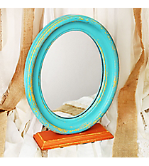 13 x 9.75 Distressed Light Blue and Orange Oval Tabletop Mirror #DSET0181