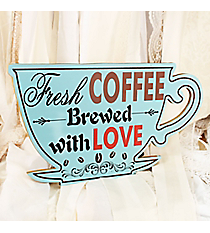 8 3/4 x 16 'Fresh Coffee Brewed with Love' Coffee Cup Shaped Wall Decor #DSEZ6119-A