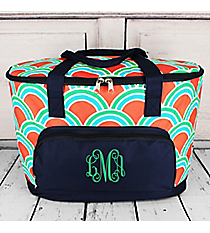 Scalloped Sunrise and Navy Cooler Tote with Lid #DUD89-NAVY