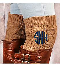 One Pair of Camel Diamond Cable Knit Boot Cuffs #EABC4001-CA