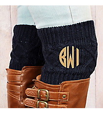 One Pair of Navy Diamond Cable Knit Boot Cuffs #EABC4001-NV